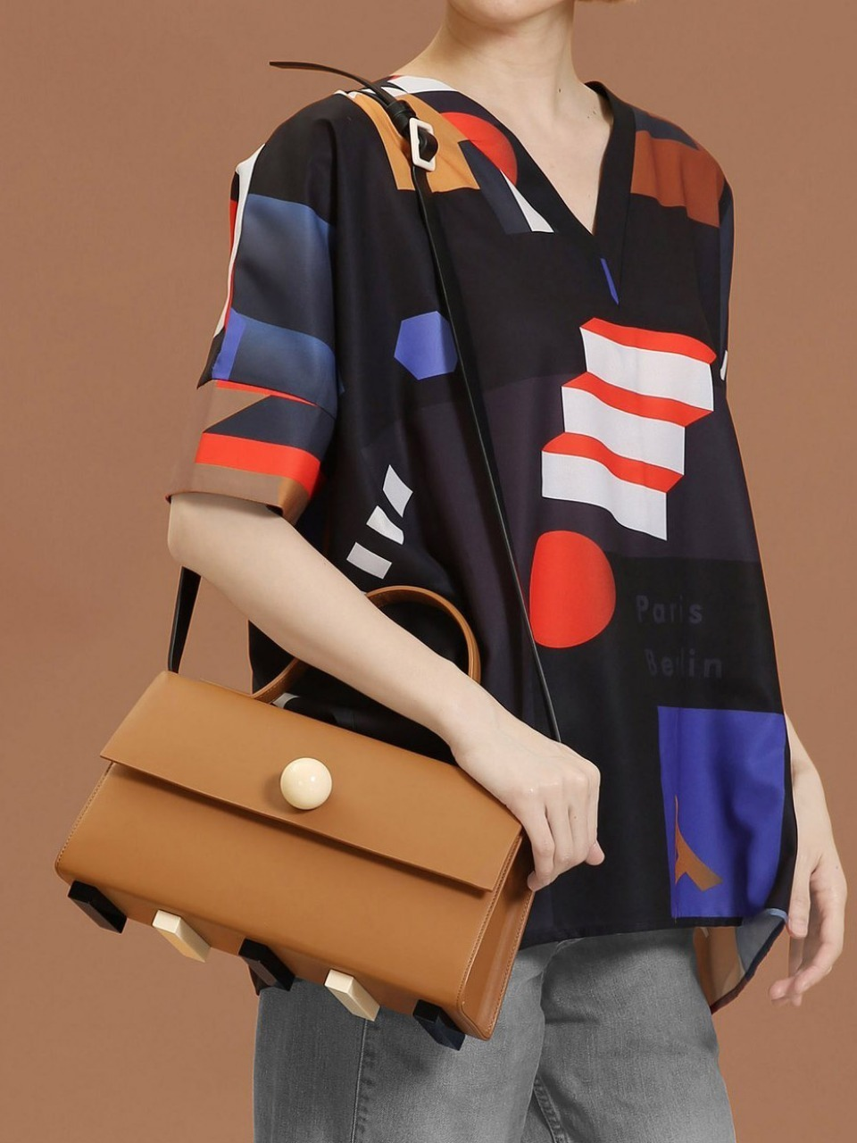더조엘르 | MatterMatters - [MATTER MATTERS] TRAPEZOID SATCHEL BAG • BROWN WITH STRAP