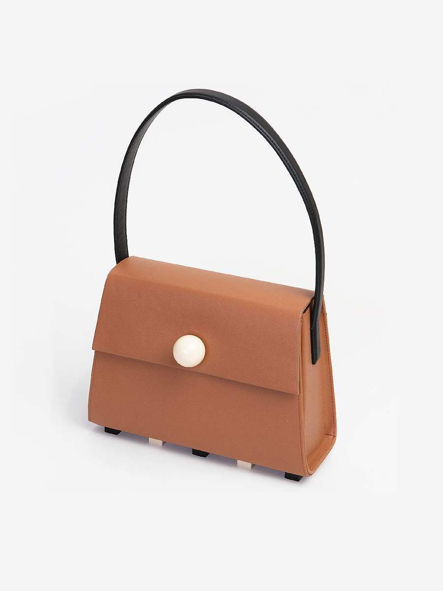 더조엘르 | MatterMatters - [MATTER MATTERS] LONG TRAPEZOID SATCHEL BAG • BROWN WITH TOP HANDLE
