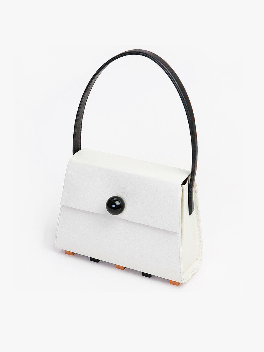 더조엘르 | MatterMatters - [MATTER MATTERS] LONG TRAPEZOID SATCHEL BAG • BEIGE WITH TOP HANDLE