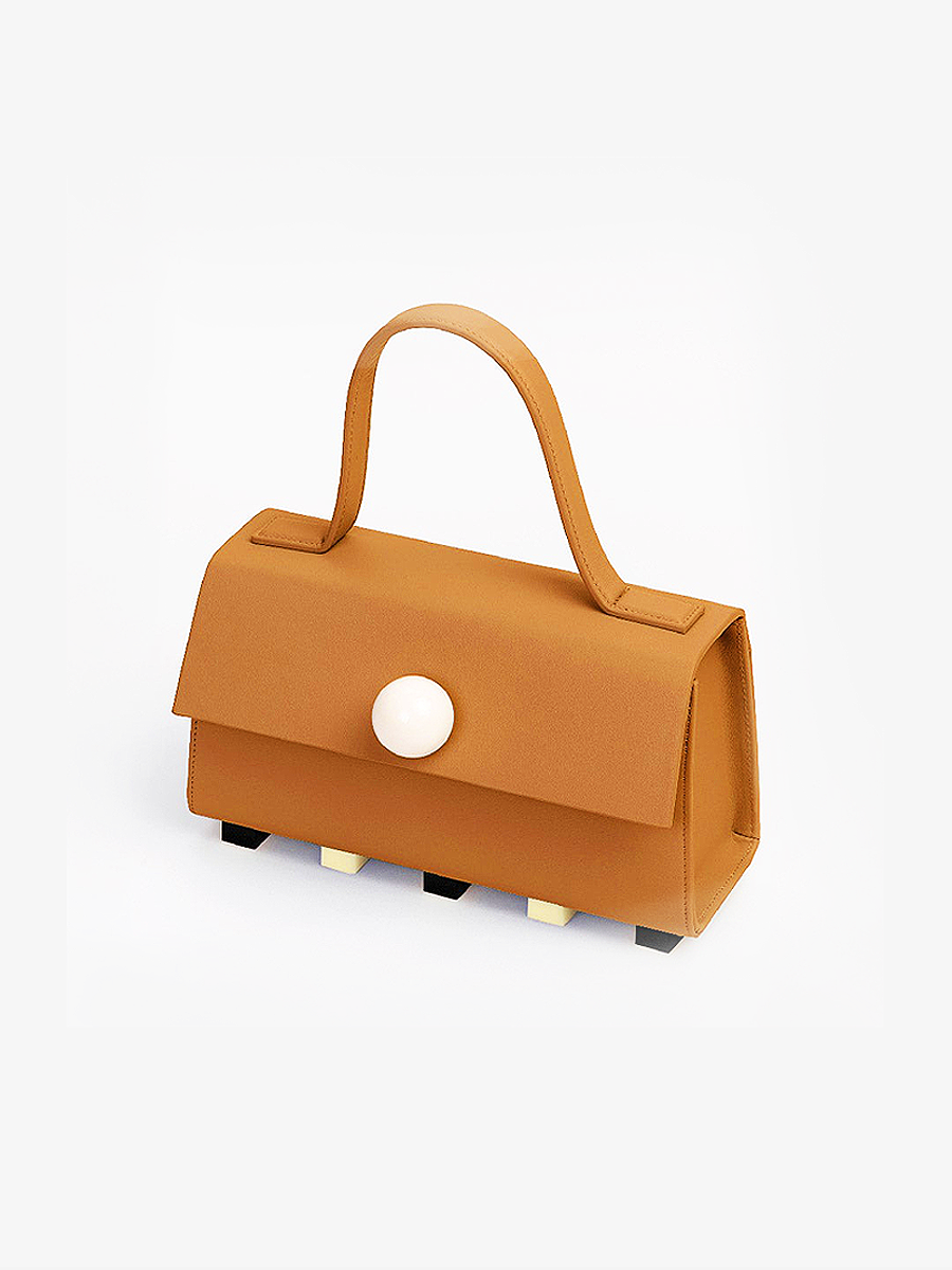 더조엘르 | MatterMatters - [MATTER MATTERS] MINI TRAPEZOID SATCHEL BAG • BROWN WITH STRAP